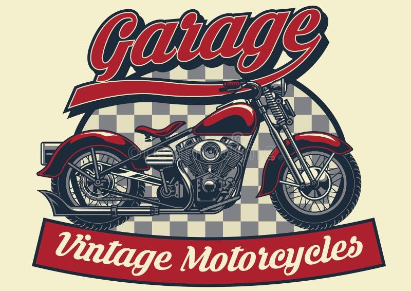 Винтажный дизайн мотоцикла иллюстрация штока