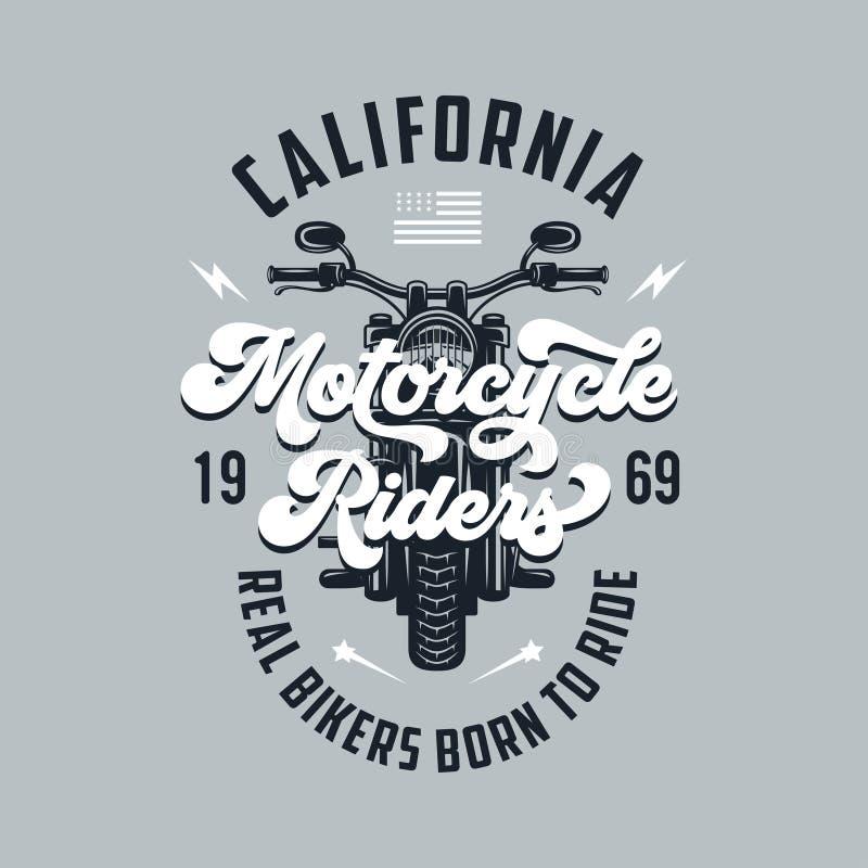Винтажный дизайн футболки мотоцикла Эмблема клуба гонщиков также вектор иллюстрации притяжки corel иллюстрация штока