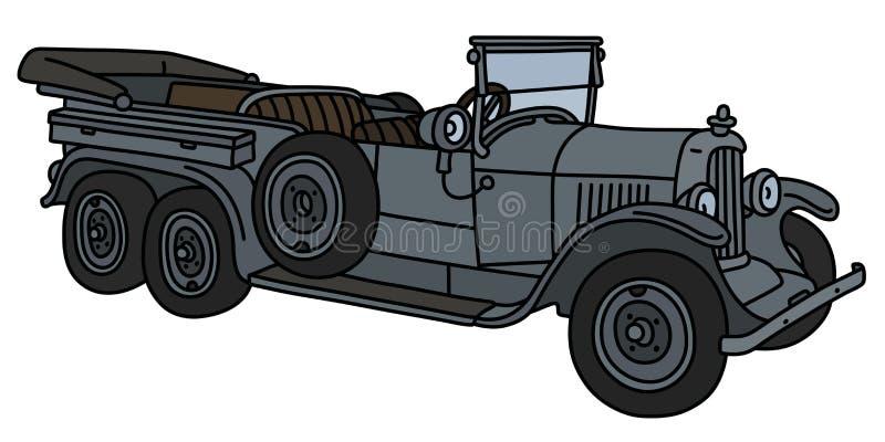 Винтажный длинный воинский автомобиль с откидным верхом иллюстрация штока