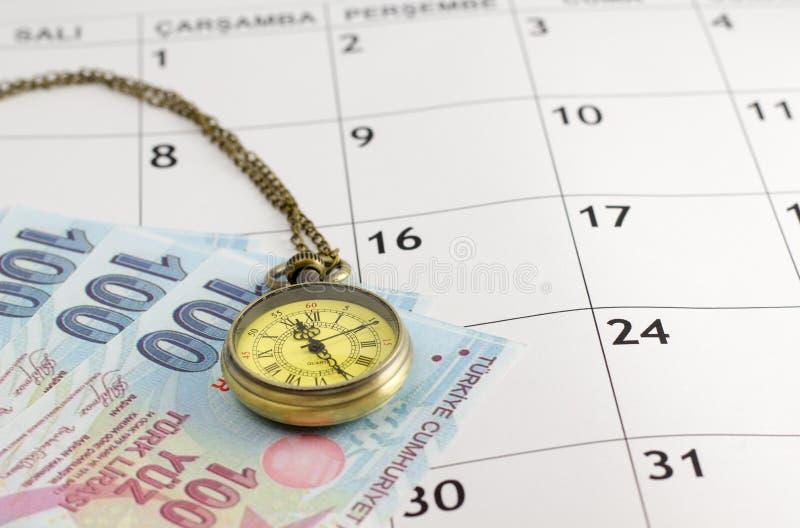 Винтажный дозор кармана кладя на страницу календаря с турецкой лирой стоковые изображения rf