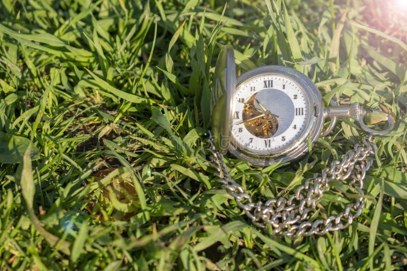 Винтажный дозор кармана лежа на зеленой траве Дозор Steampunk o Механизм часов частично видим стоковые фото