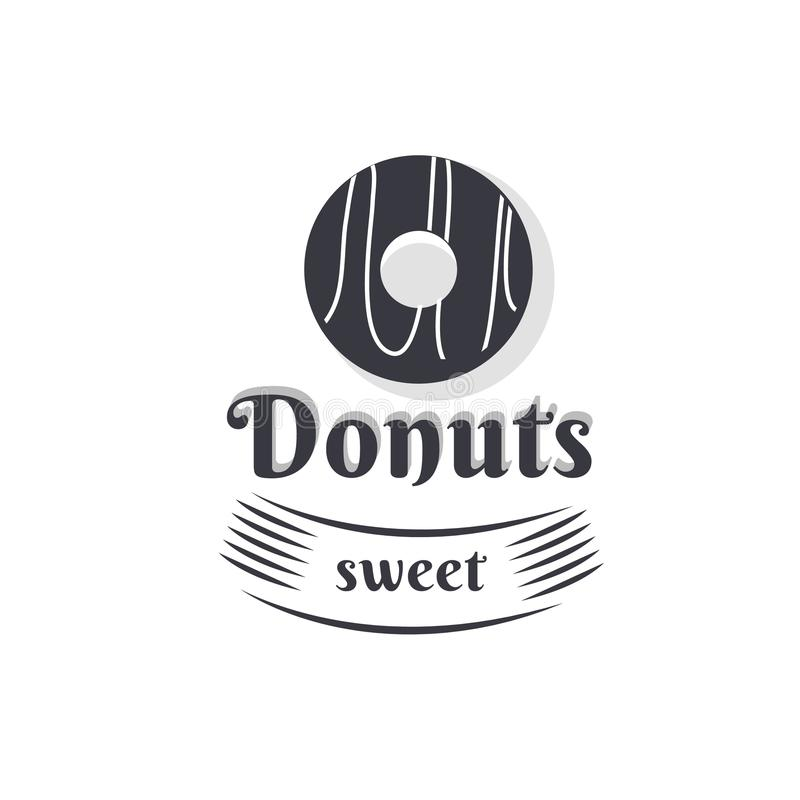 Винтажный донут логотипа иллюстрация штока