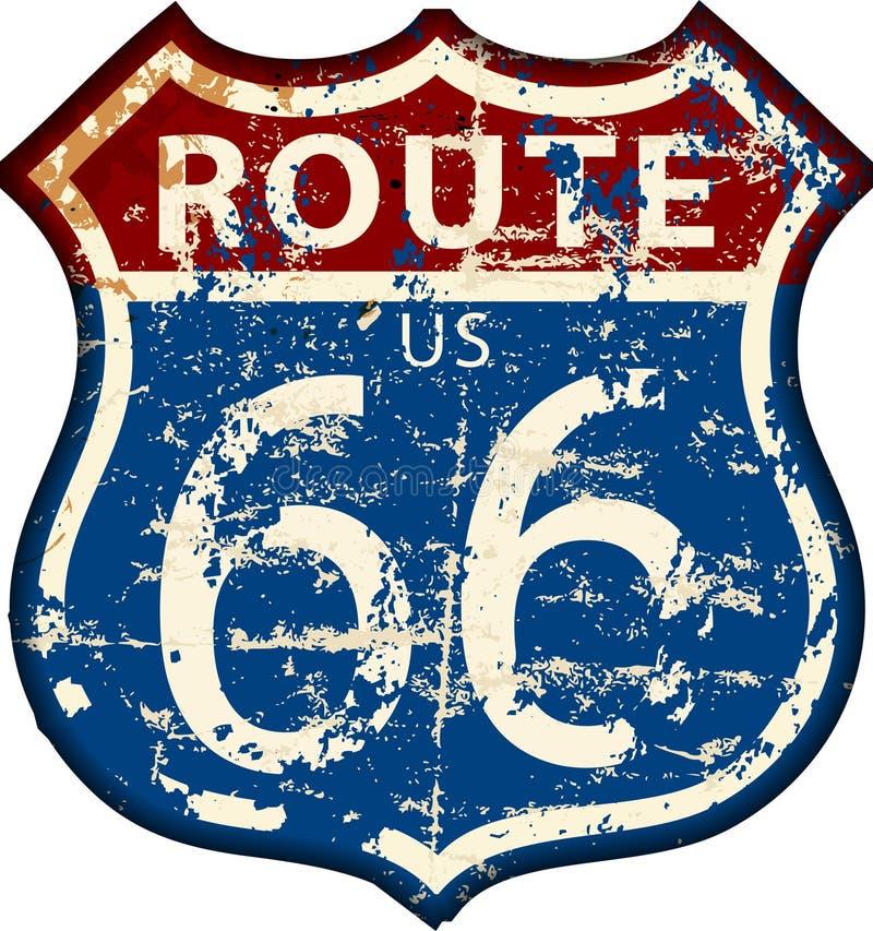 Винтажный дорожный знак трассы 66, вектор бесплатная иллюстрация