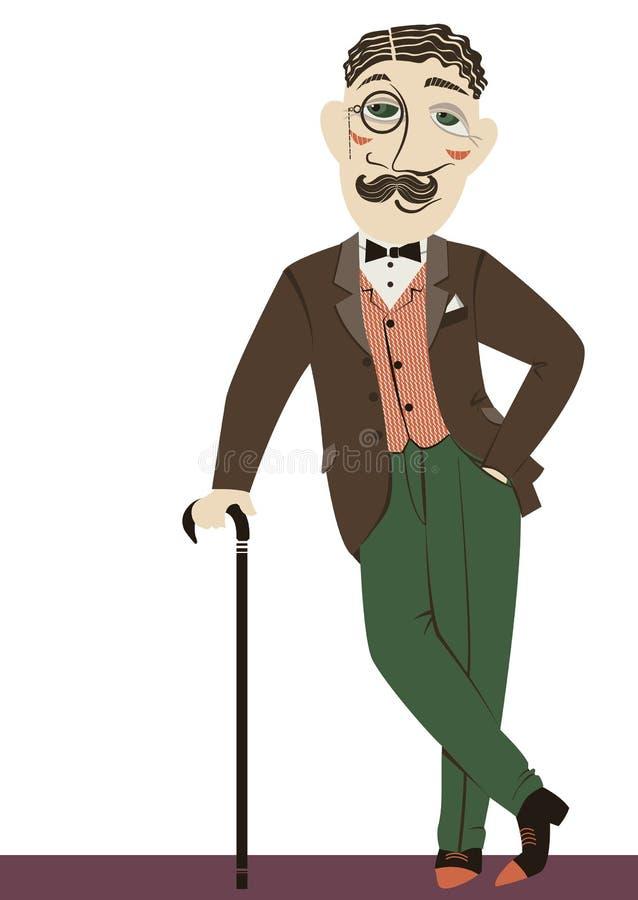 Винтажный джентльмен с тросточкой. Человек вектора изолированный дальше иллюстрация вектора
