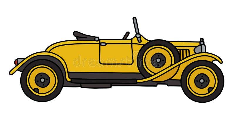Винтажный желтый родстер иллюстрация штока