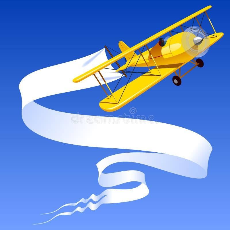 Винтажный желтый самолет с знаменем бесплатная иллюстрация
