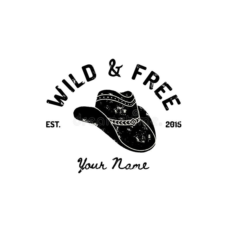 Винтажный западный логотип ковбойской шляпы Символ вектора Дикого Запада, Техаса Стиль Grunge оформления ярлыка США ретро иллюстрация вектора