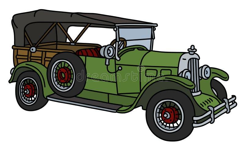 Винтажный зеленый автомобиль иллюстрация вектора