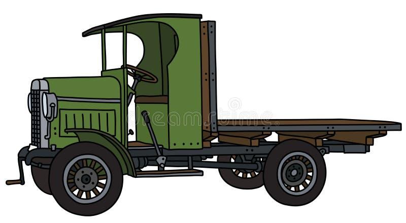 Винтажный зеленый грузовик иллюстрация вектора