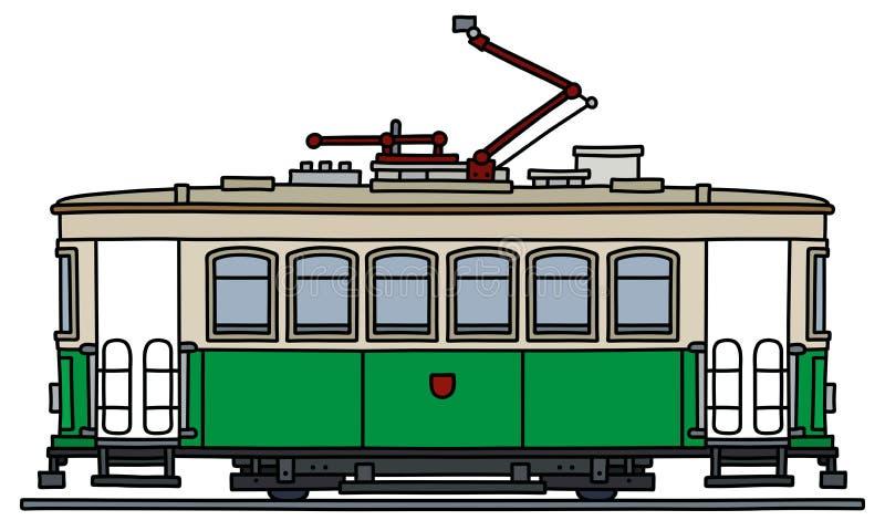 Винтажный зеленый и белый трамвай иллюстрация вектора