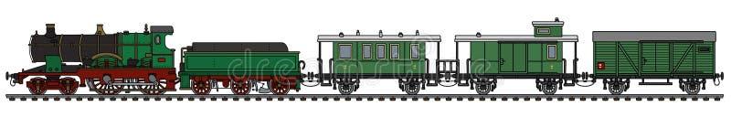Винтажный зеленый поезд пара иллюстрация вектора