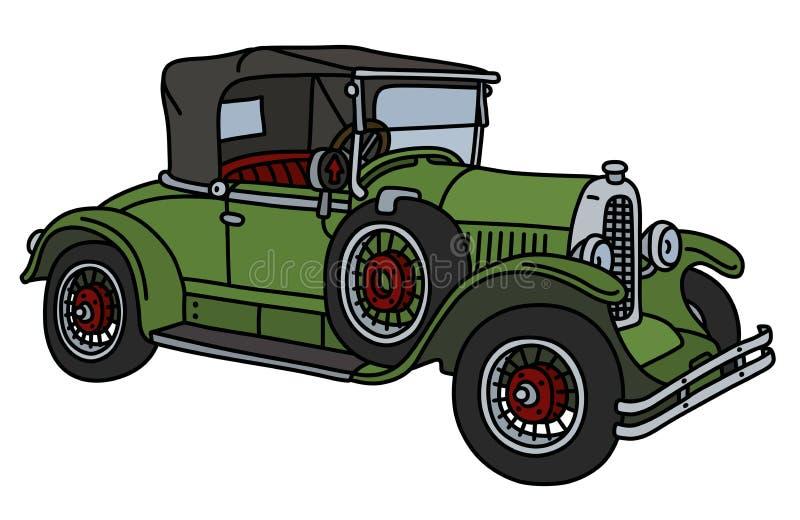 Винтажный зеленый cabriolet иллюстрация вектора