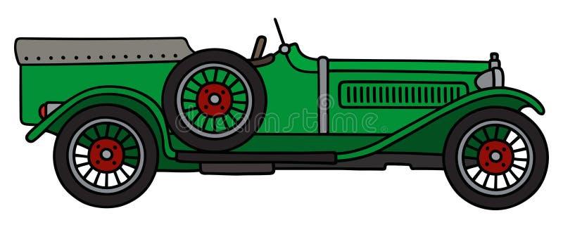 Винтажный зеленый гоночный автомобиль иллюстрация вектора