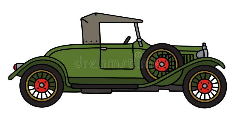 Винтажный зеленый родстер бесплатная иллюстрация