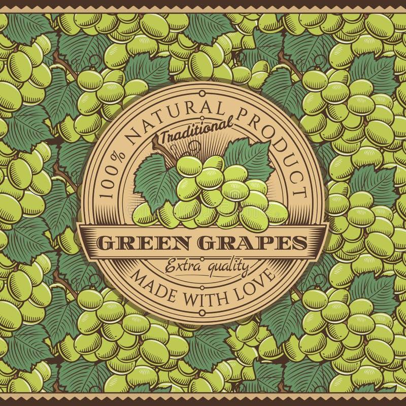 Винтажный зеленый ярлык виноградин на безшовной картине иллюстрация вектора