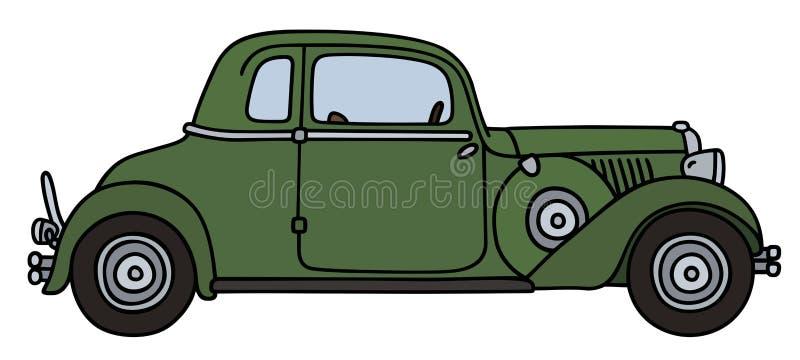 Винтажный зеленый coupe иллюстрация вектора