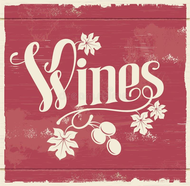 Винтажный знак вина стоковое изображение