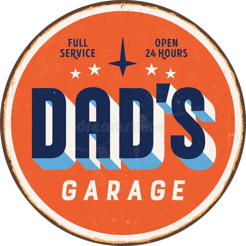 Винтажный знак металла - гараж Dad's бесплатная иллюстрация