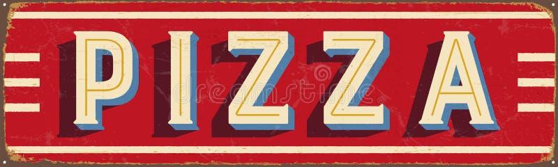 Винтажный знак металла - пицца иллюстрация штока
