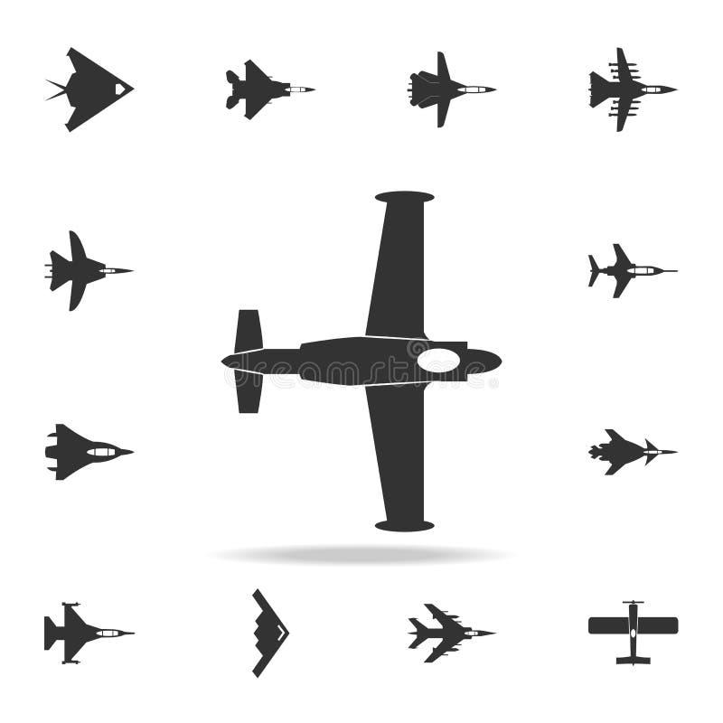 Винтажный значок самолета Детальный комплект значков самолета армии Наградной графический дизайн Один из значков собрания для веб иллюстрация штока