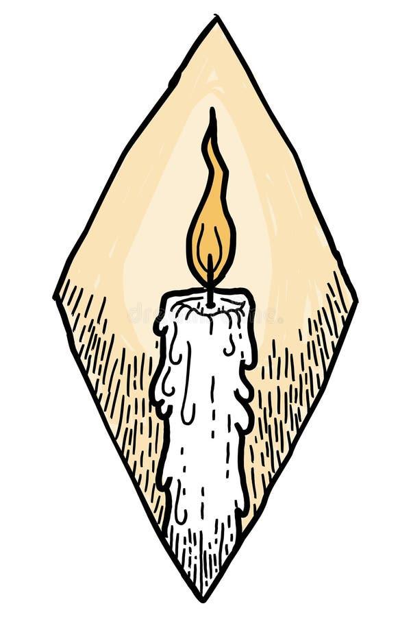 Винтажный значок свечи эскиза изолированный на белой предпосылке иллюстрация вектора