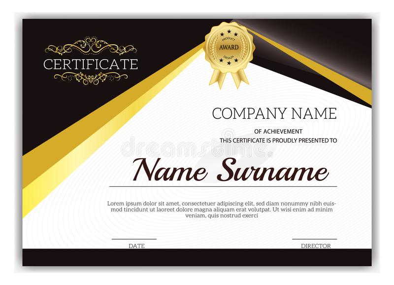 Винтажный золотой классический сертификат, сертификат достижения t стоковое изображение rf