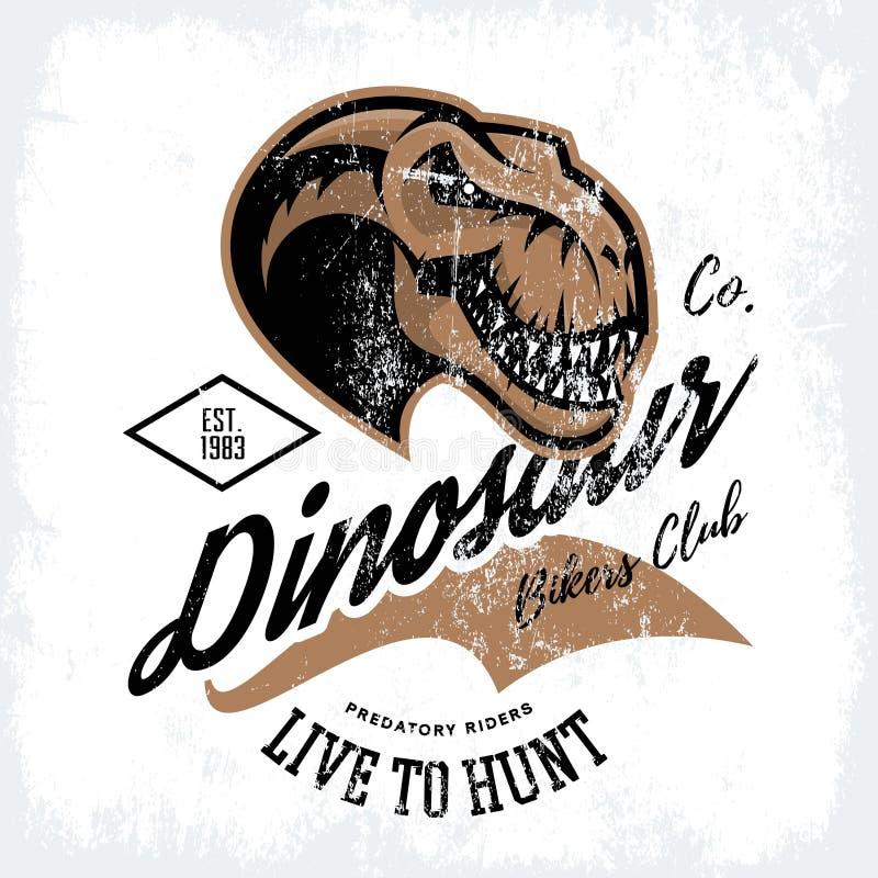 Винтажный злющий дизайн вектора печати тройника клуба шатии велосипедистов динозавра иллюстрация вектора