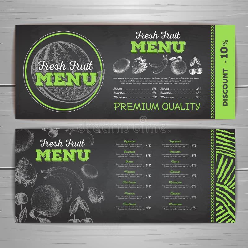 Винтажный дизайн меню еды чертежа мела вегетарианский Ske fuit Fesh бесплатная иллюстрация