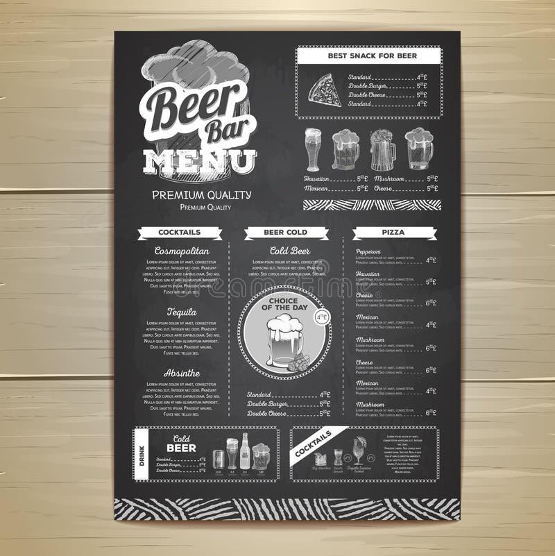 Винтажный дизайн меню пива чертежа мела бесплатная иллюстрация
