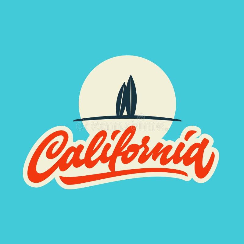 Винтажный дизайн одеяния футболки Калифорнии каллиграфический иллюстрация вектора