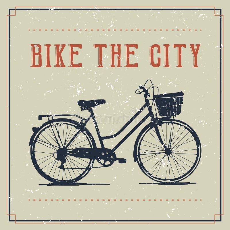 Винтажный дизайн плаката с велосипедом иллюстрация штока