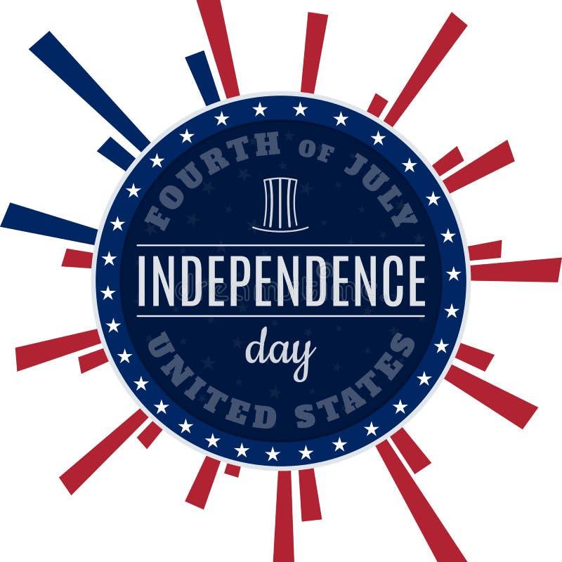 Винтажный дизайн для четверти Дня независимости США в июле Конструированный в традиционных цветах американского флага и ретро эле иллюстрация вектора