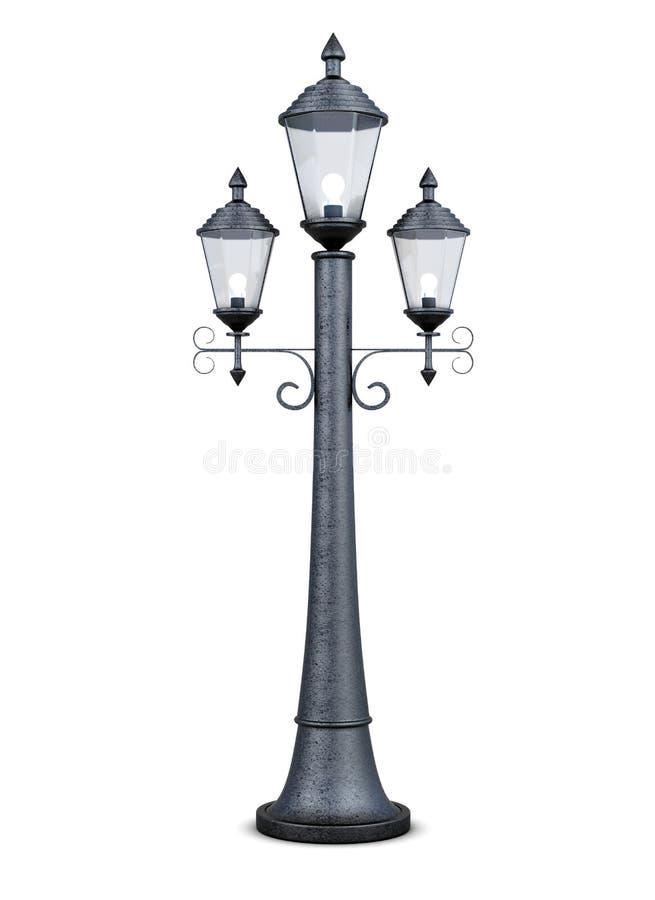 Винтажный изолированный уличный фонарь на белой предпосылке перевод 3d бесплатная иллюстрация