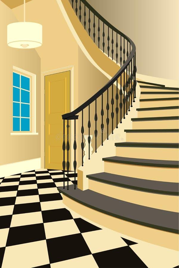 Винтажный интерьер прихожей с лестницей Дизайн современной комнаты Мебель символа, иллюстрация прихожей иллюстрация вектора