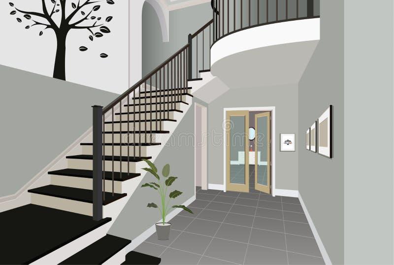 Винтажный интерьер прихожей с лестницей Дизайн современной комнаты Мебель символа, иллюстрация прихожей иллюстрация штока