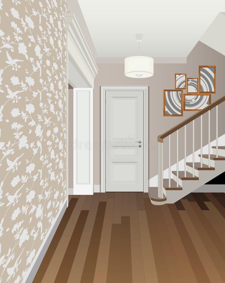 Винтажный интерьер прихожей с лестницей Дизайн современной прихожей Мебель символа, иллюстрация прихожей иллюстрация вектора