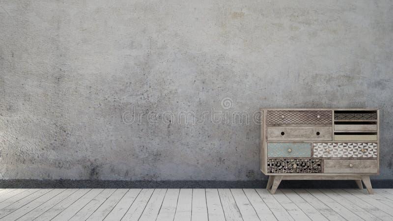 Винтажный интерьер с постаретой стеной стоковое изображение