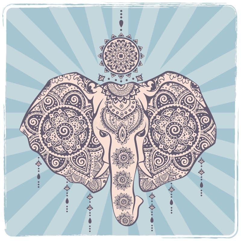 Винтажный индийский слон с племенными орнаментами Приветствие мандалы иллюстрация штока