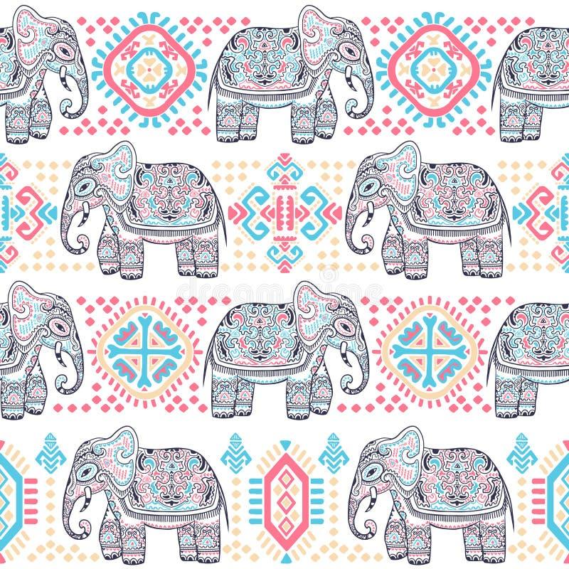 Винтажный индийский слон с племенными орнаментами Приветствие мандалы иллюстрация вектора