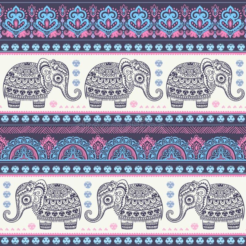 Винтажный индийский слон с племенными орнаментами Приветствие мандалы бесплатная иллюстрация