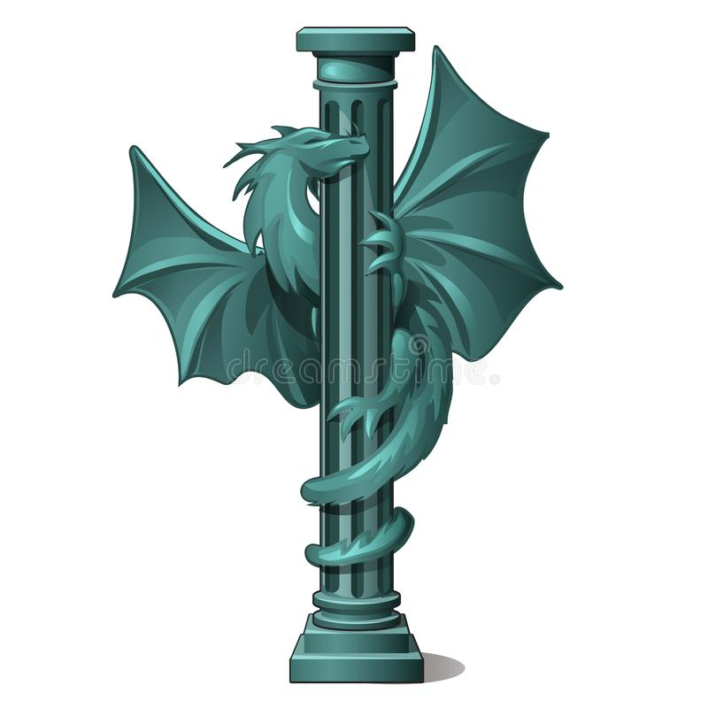 Винтажный каменный столбец украшенный с диаграммой, который подогнали изолированного дракона на белой предпосылке Конец-вверх шар иллюстрация штока