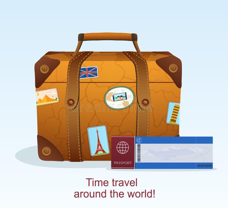 Винтажный кожаный чемодан с стикером перемещения иллюстрация вектора