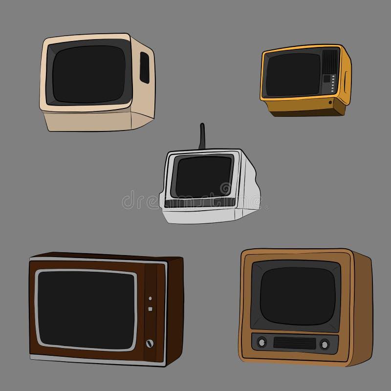 Винтажный комплект монитора ТВ ретро иллюстрация чертежа вектора оборудования бесплатная иллюстрация
