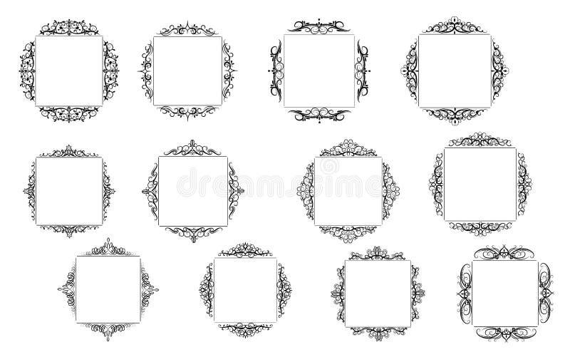 Винтажный комплект рамки свирли вектора иллюстрация вектора