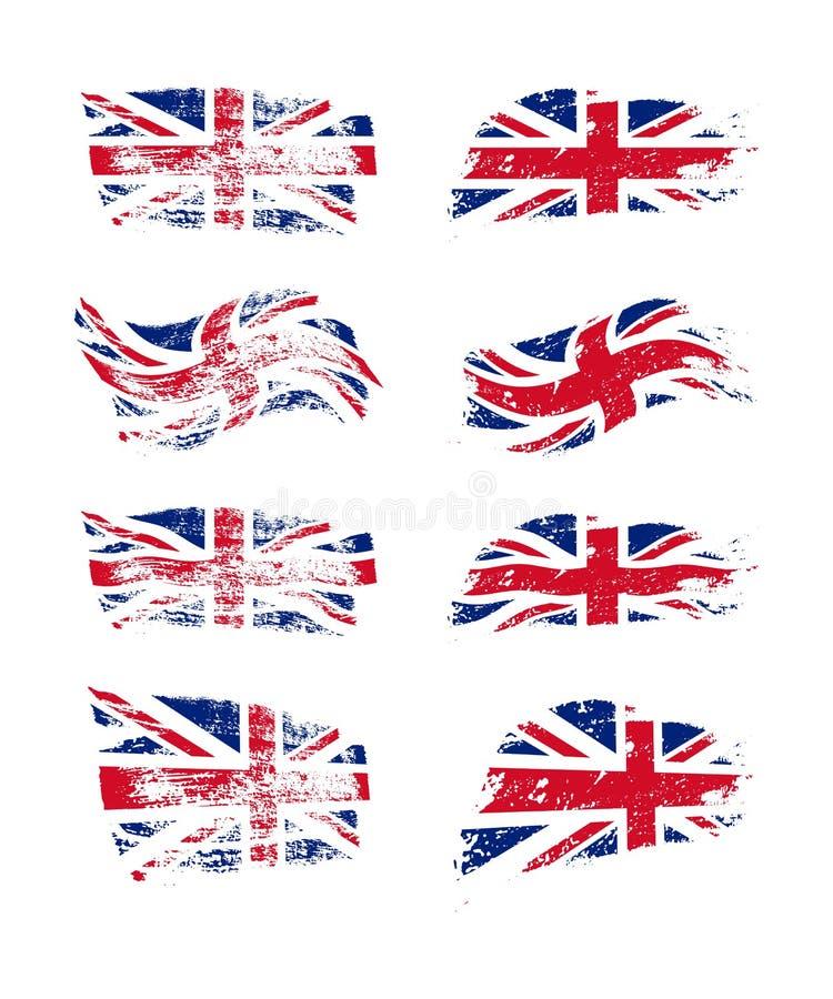 Винтажный комплект флага британцев Флаги Великобритании вектора на текстуре grunge иллюстрация штока