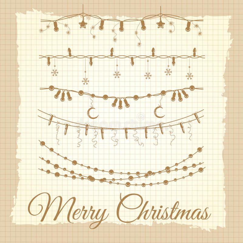 Винтажный комплект гирлянды рождества иллюстрация вектора