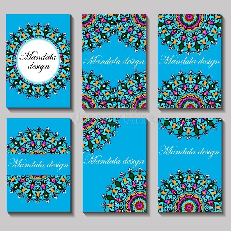 Винтажный комплект карточки посещения Флористические картина и орнаменты мандалы иллюстрация штока