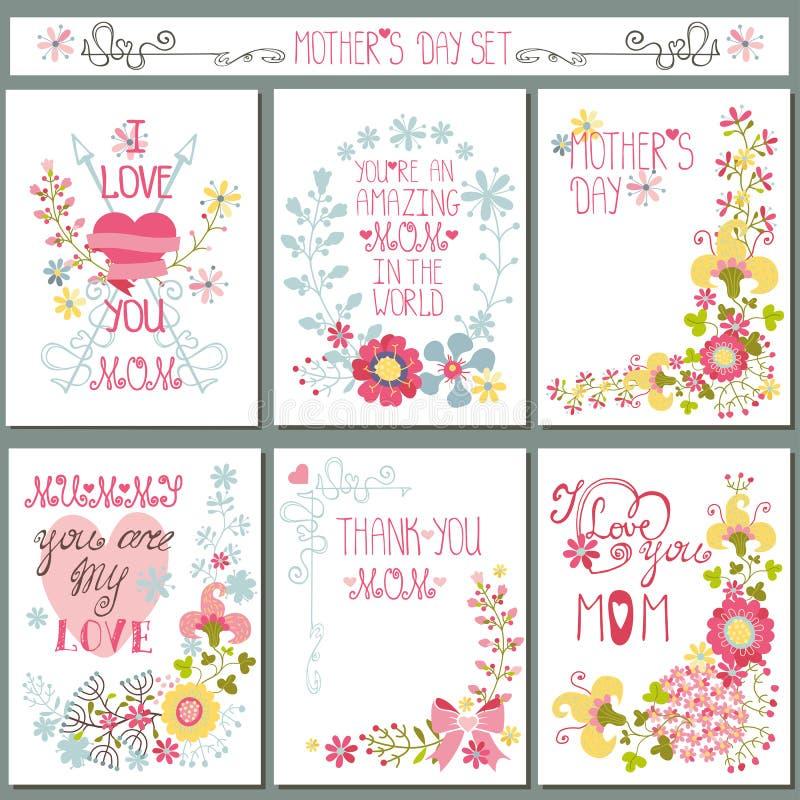 Винтажный комплект карточки с флористическим оформлением цветок дня дает матям сынка мумии к иллюстрация штока