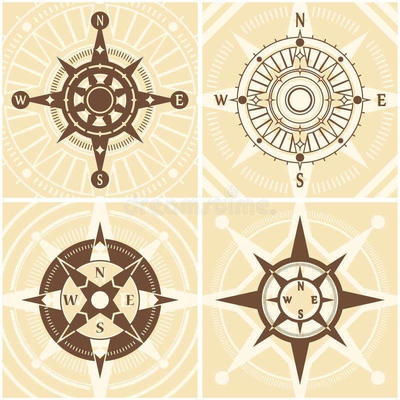 Винтажный комплект компаса иллюстрация вектора
