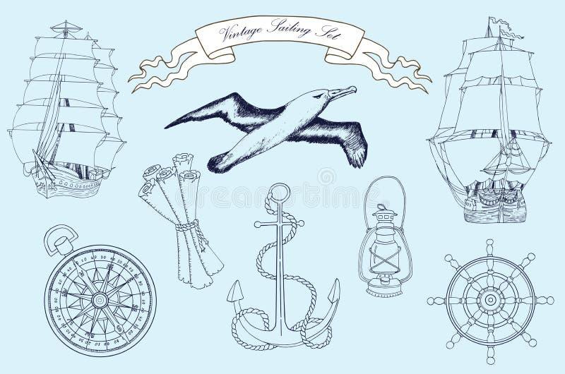 Винтажный комплект плавания иллюстрация штока